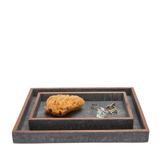 Ash Faux Shagreen Trays, Set of 2