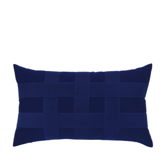 Basketweave Navy Lumbar Accent Pillow