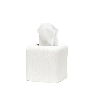 White Wood Grain Porcelain Tissue Box