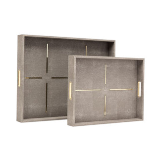Daina Faux Shagreen Trays - Set of 2