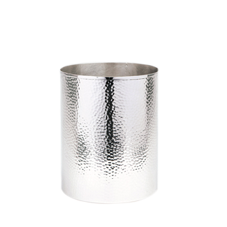 Hammered Metal Round Wastebasket