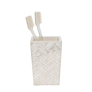 Pearlized Herringbone Capiz Brush Holder