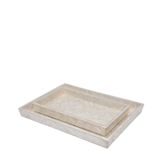 Pearlized Herringbone Capiz Tray Set
