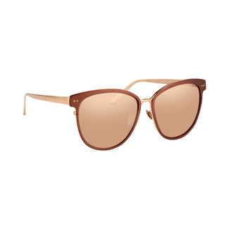 Linda Farrow 547 C3 Oversized Sunglasses In Copper And Rose Gold