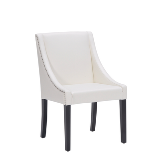 Ivory Leather Lucille Dining Chair