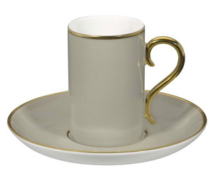 Rocco Grey and Gold Coffee Cup & Saucer