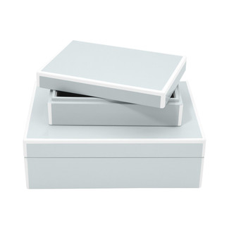 Elle Lacquer Set of 2 Storage Boxes- Arctic Blue
