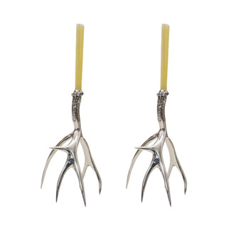 Tall Polished Antler Candle Holders Set
