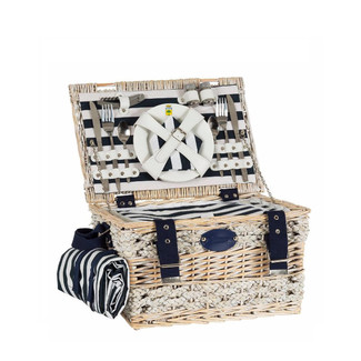 DELUXE NAUTICAL PICNIC BASKET FOR 4