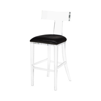 Tristan Klismos Bar Stool - Black Hide