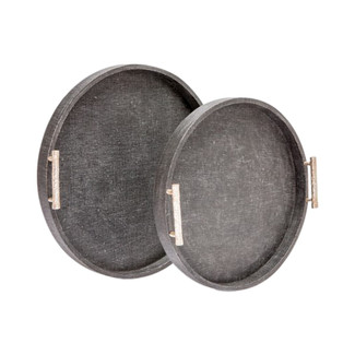 Doris Round Faux Linen Tray Set
