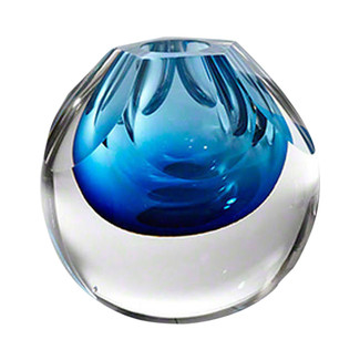 Pentagon Cut Cobalt Glass Vase