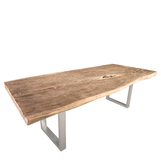 Chamcha Wood Dining Table with Stainless Steel Legs - 115""