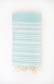 Fouta Beach Towel - Aqua & White