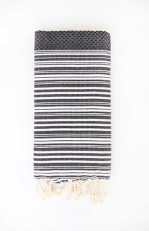Fouta Beach Towel - Black & White