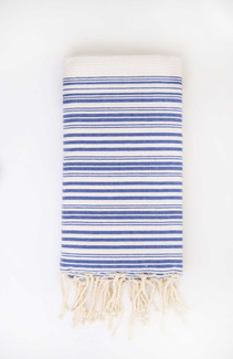 Fouta Beach Towel - White & Blue Jeans