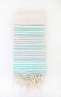 Fouta Beach Towel - White & Aqua