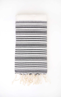 Fouta Beach Towel - White & Black