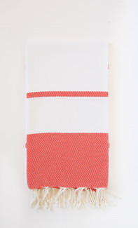 Miami Jacquard Fouta Towel - White & Red Cayenne