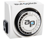 Autopilot AP Dual-Outlet Analog Timer, 1875W, 15A, 15Mins On/Off, 24Hr TM01015D