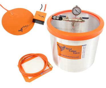 Best Value Vacs 5 Gallon Vacuum Degassing Chamber with Heat Pad BVVDCHP5