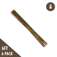 6 Natural Bamboo Stakes Heavy Duty 6-pack
