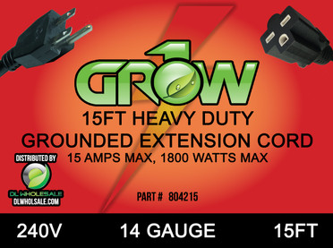Grow1 240V Extension Cord 14 Gauge 15