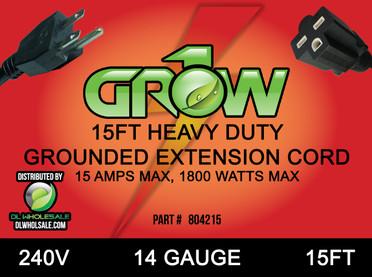 Grow1 240V Extension Cord 14 Gauge 15