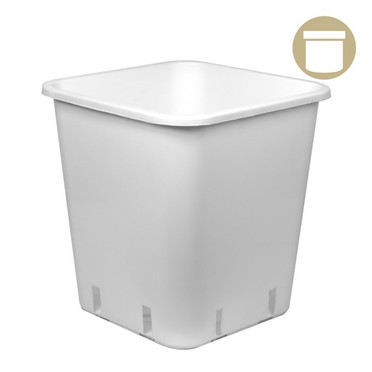 3 Gal White Square Pot