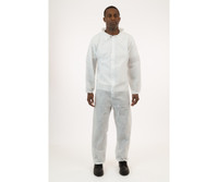 International Enviroguard White SMS Coverall, Elastic Wrist and Ankle, Large, 25/cs EG71030