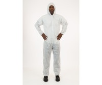 International Enviroguard White SMS Coverall with Hood, Large, 25/cs EG73030