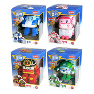 "Robocar Poli 4 Pcs Set - Poli, Roy, Amber, Helly 4.7"" Transformer Robot Toy Figure"