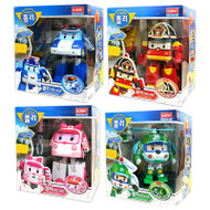 Robocar Poli Deluxe 4 Pcs Set - Poli, Roy, Amber, Helly Transformer Robot Toy Figure Set
