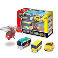 The Little Bus TAYO FRIENDS Special Edition NO.4 Mini Car 4 Pcs Toy Set (Air + Peanut + Kinder + Shine)