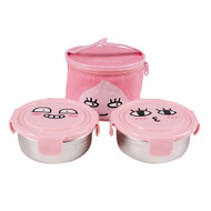Kakao Friends - Circular Stainless Steel 2-Stage Lunch Box Bag Food Tray Set (APEACH)