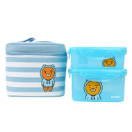 Kakao Friends - Stackable side-dish box 2-stage Lunch Box Bag Set (RYAN)