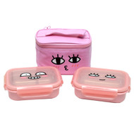 Kakao Friends -Double lock Stainless Steel 2-stage lunch Box Bag Set (APEACH)