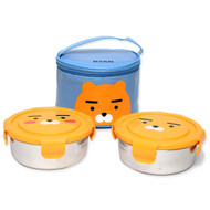 Kakao Friends - Circular Stainless Steel 2-Stage Lunch Box Bag Food Tray Set (RYAN)