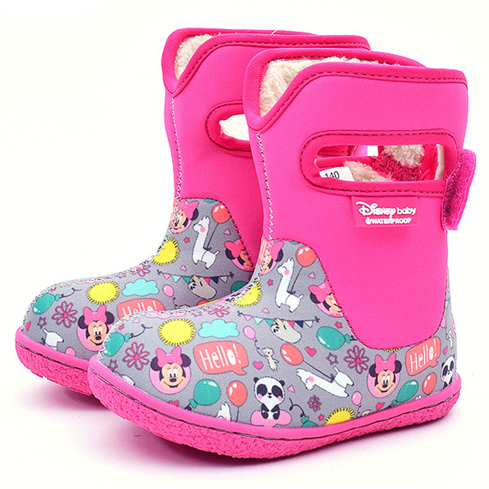 Disney Baby Adorable Lovely Winter Warm Waterproof Snow Boots Shoes  (Toddler/Little Kid) , Pink (Minnie Mouse)
