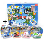 Robocar Poli - Opening Headquarter Rescue Center Play set & 4 pcs Diecast Toy(Poli, Roy, Amber and Heli)