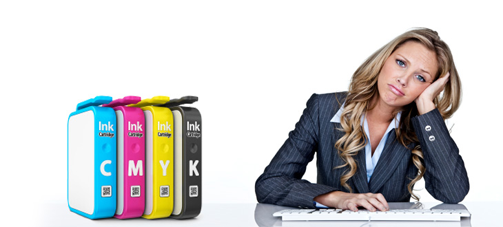 Woman with ink cartridges