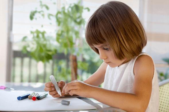 child making card