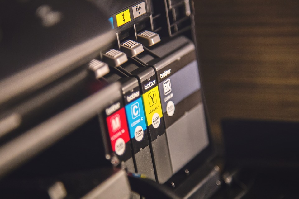 ink cartridges inside a Brother printer