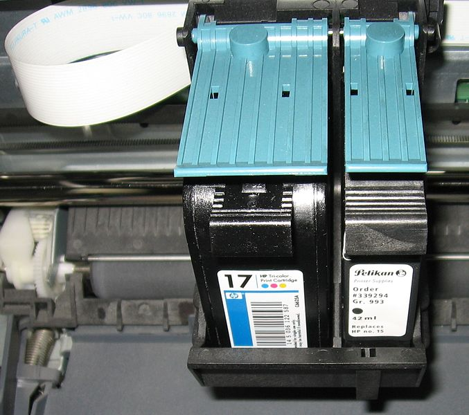 ink cartridges inside a printer