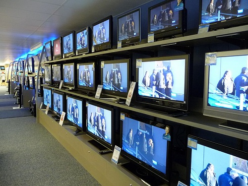 TV's on Display in Showroom