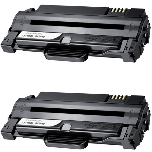 2 Pack - Compatible Dell 330-9523 Toner Cartridge, Black (7H53W), For Dell  1130 Printer Series