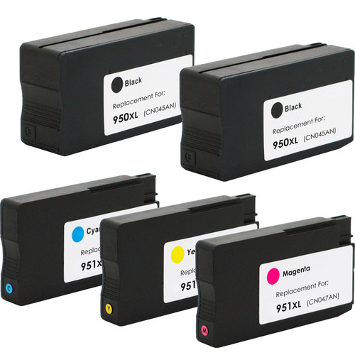 5 Pack - Remanufactured Replacement For HP 950XL and 951XL Ink Cartridge  Set, High Yield, Package Includes 2 Black, 1 Cyan, 1 Magenta and 1 Yellow  Ink