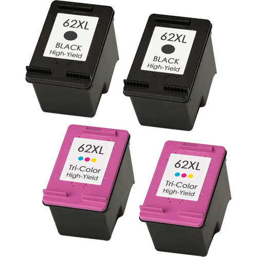 4 Pack - Remanufactured Replacement For HP 62XL Ink Cartridge Set, High  Yield, Package Includes 2 Black and 2 Color Ink Cartridges