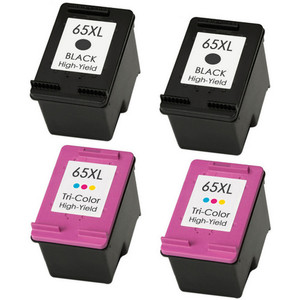 HP 65XL Ink Cartridge Set, 2 Black and 2 Color Ink Cartridges