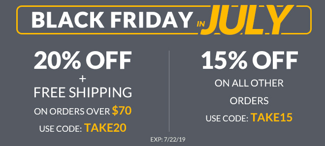 Black friday in July sale 20% Off + free shipping offer